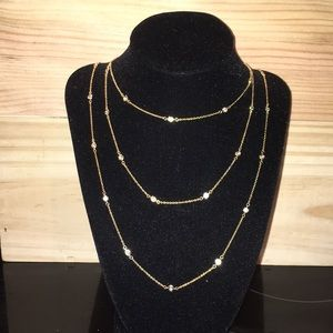 "Nordstrom Gold plated & CZ 60"" necklace"